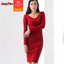 832e4e52def9c9a (Отправка из RU) Платья-свитеры Для женщин тонкий пуловер Костюмы V шеи  Теплый вязаный свитер вязать Дамы с длинным рукавом платье теплые женские.