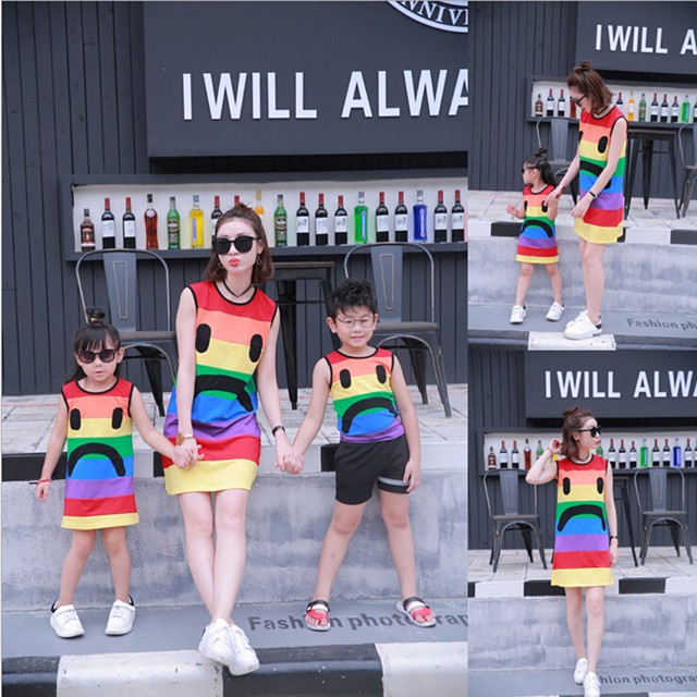 Matching Mother Daughter Dresses Sleeveless Rainbow stripes Mother Daughter Clothes Family Matching Look Mom And Daughter  Dress