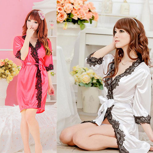 sexy Lace  Babydoll Sleepwear Night Dress Women Sexy Satin  Sleepwear Nightdress Robes Lace G-string Gown