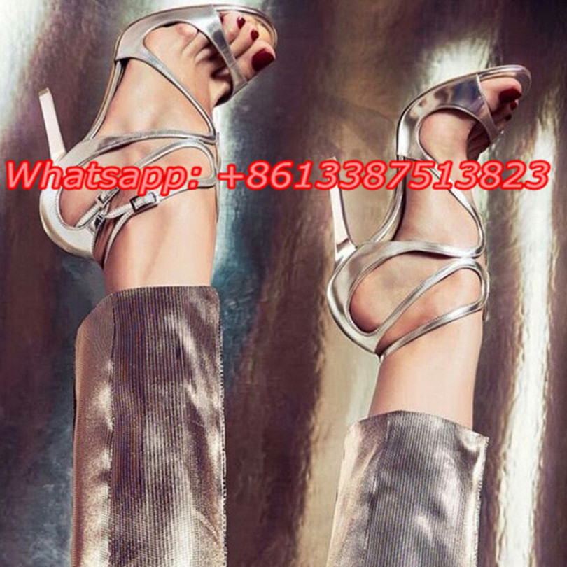 Silver Metallic Leather Strappy Lance Women Sandals Open Toe Cutouts Stiletto High Heels Buckle Sandals Party Ladies Shoes Woman