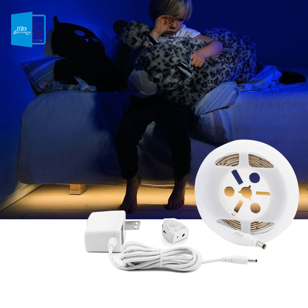 Motion Activated Bed Light Dimmable Flexible Strip Motion Sensor Night Light Dimmable Illumination with Automatic Shut Off Timer