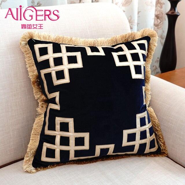 Avigers Luxurious Cushions Embroidered Tassel Velvet Throw Pillows Classy Decorative Tassel Pillows