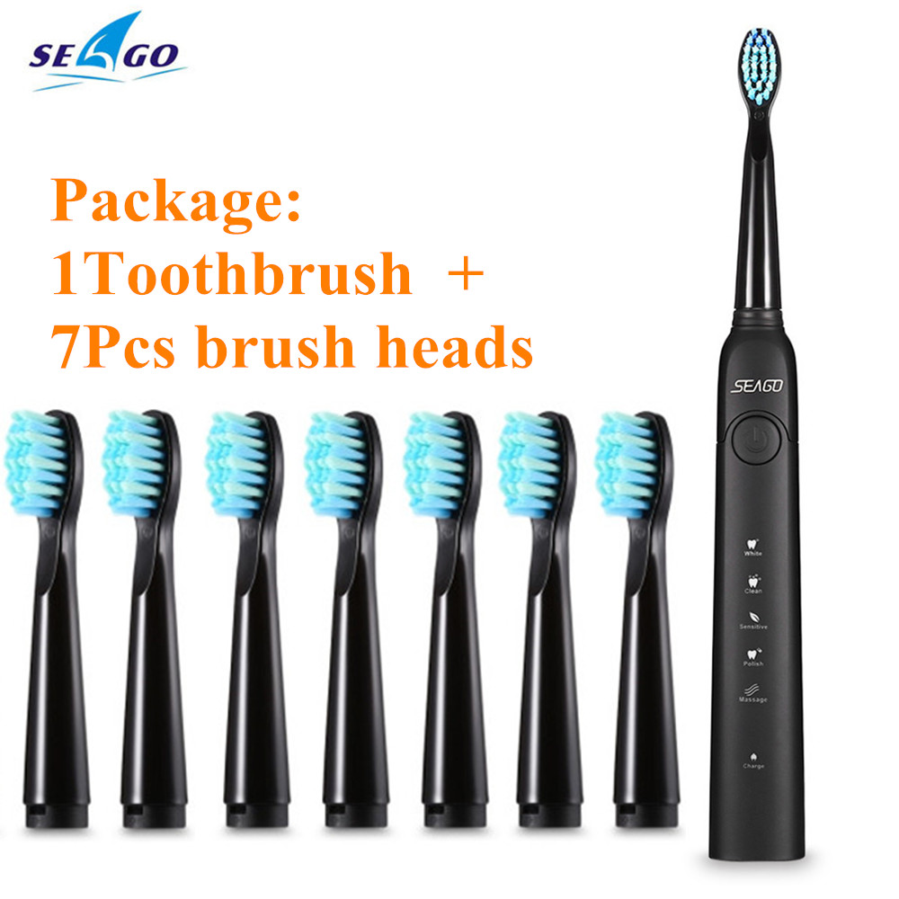 SEAGO SG-949 Sonic Electric Toothbrush USB Charge ToothBrush with 7pcs Replacement Heads Adult Timer Brush Accessories image