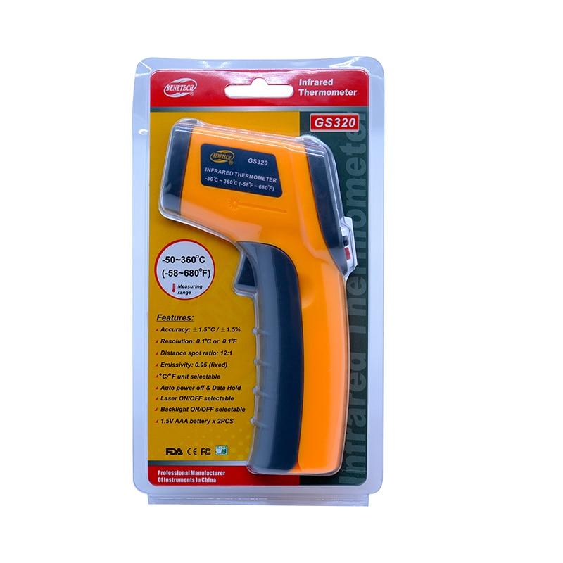 Image 5 - Бесконтактный цифровой лазерный инфракрасный термометр GS320 50 ~  360C ( 58 ~ 680F) температурная пирометр ИК лазерная точка  пистолетpoint gunpyrometer irnon contact -