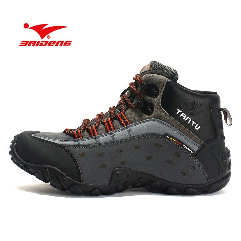 BAIDENG chaussures de Trekking pour hommes chaussures de randonnée imperméables en cuir hommes chaussures de montagne en plein air chaussures de randonnée grande taille 39 ~ 46