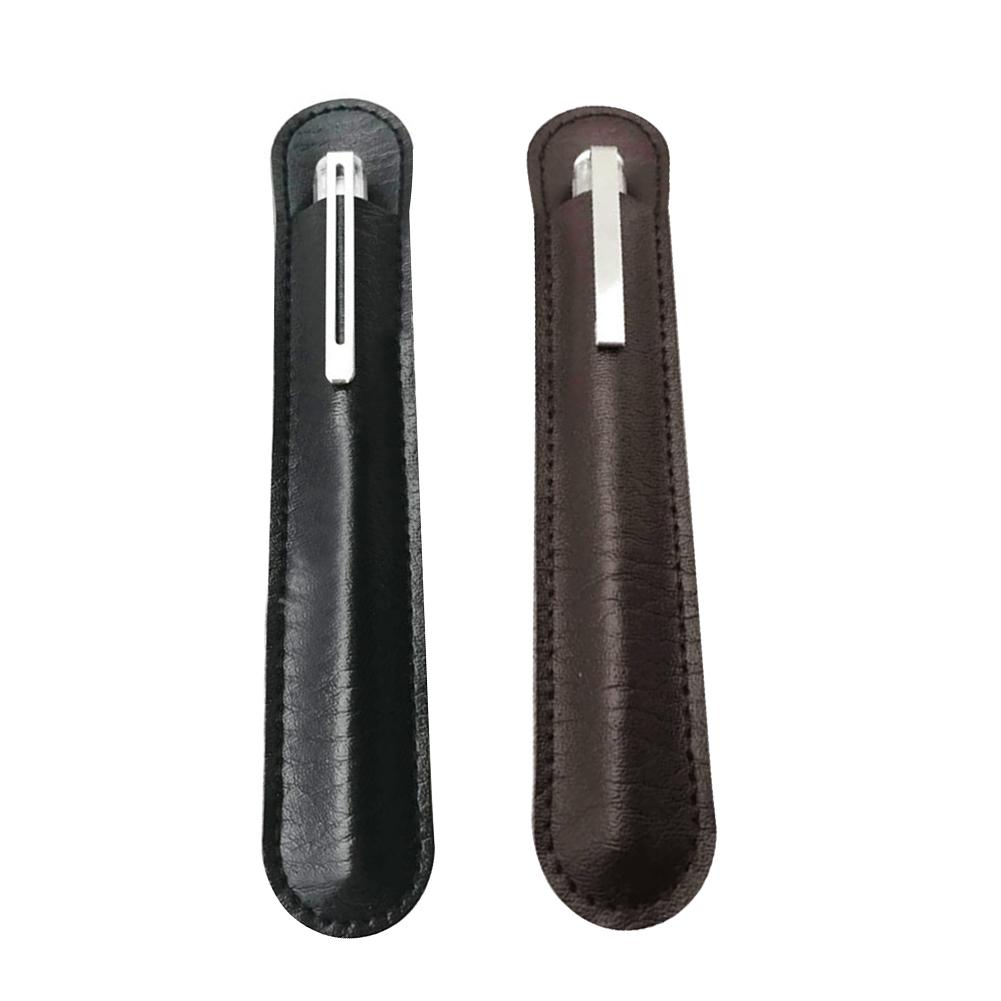 PU Leather Pencil Pen Case Dust-proof Anti-fall Single Pen Storage Case Pouch Sleeve Bag Holder Stylish Accessories