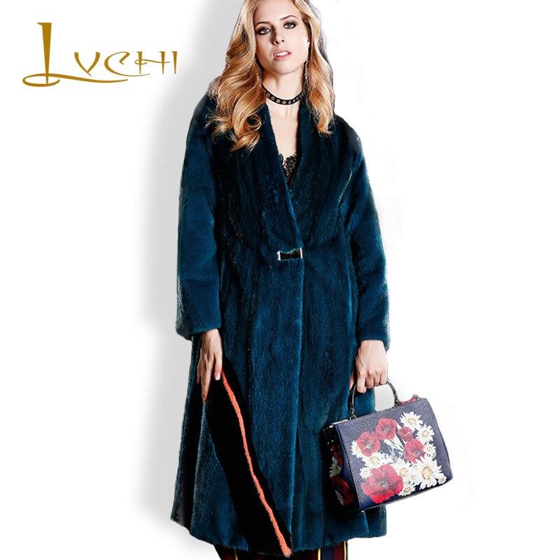 LVCHI Klasik hitam 2019 Musim Dingin Tebal Hangat Bulu Mantel Bulu - Pakaian Wanita - Foto 1