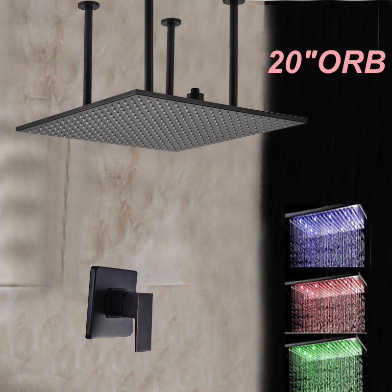 Wholesale And Retail LED Color Changing Square 20 Rainfall Shower Head Oil Rubbed Bronze Ceiling Mounted Sprayer Shower Faucet