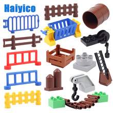 Grandes blocos de construção tijolos acessórios compatíveis duplos conjunto cerca ponte escada cesta multifunções gancho crianças brinquedos presente