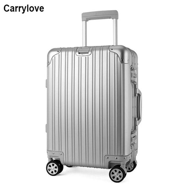 """CARRYLOVE 20 """"24"""" 26 """"29 polegada 100% spinner mala trolley de viagem bagagem de mão em rodas de alumínio"""