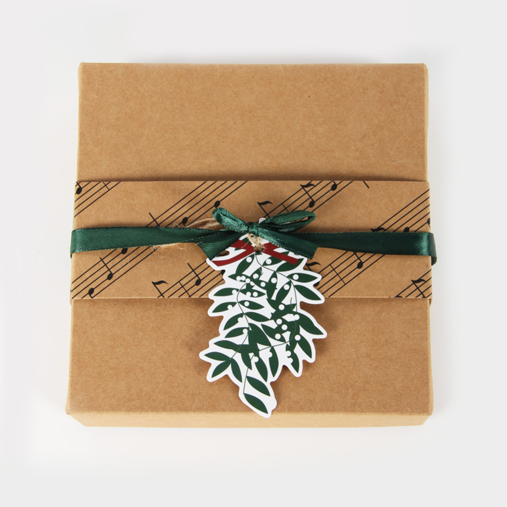 8pc Retro Brown Kraft Paper Christmas Gift Box with Mistletoe Leaves and Singing Bird Tags for Holiday Treats Presents