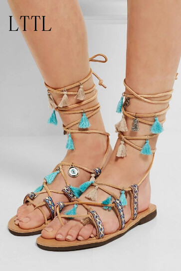 ФОТО Summer Newest Women  Sandals Fringe Embroidery Cross Strap Ethnic Style Mixed Colors Flat With Lady Shoes Ankle Strap