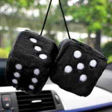 Car Pendant Colorful Plush Dice Craps JDM Automobiles Rear View Mirror Charms Hanging Suspension Ornaments Desk Home Decoration(China)