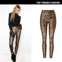 Women's high waist autumn and winter new elastic coated gold snake pattern imitation leather pants PU denim feet pants nine pant