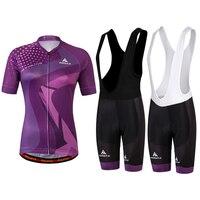 Purple Womens Cycling Clothing Bibs Set Bicycle Bike Suit Reflective MTB Jerseys Bib Shorts GEL Pad