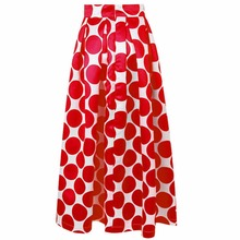 Fashion Vintage Polka Dots Women Long Skirt High Waist Printed Maxi Skirt Casual Elegant Black/Blue/Red Pleated Skirt