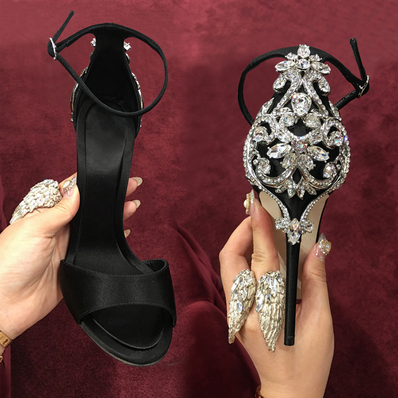 Luxury Crystal Flowers Heel Ladies Sexy Sandals Fashion Black/Green Satin Women Peep Toe High Heels Ankle Buckle Party Stiletto free shipping ep2107 ivory women s open toe stiletto high heel satin flowers pearls bridal wedding sandals