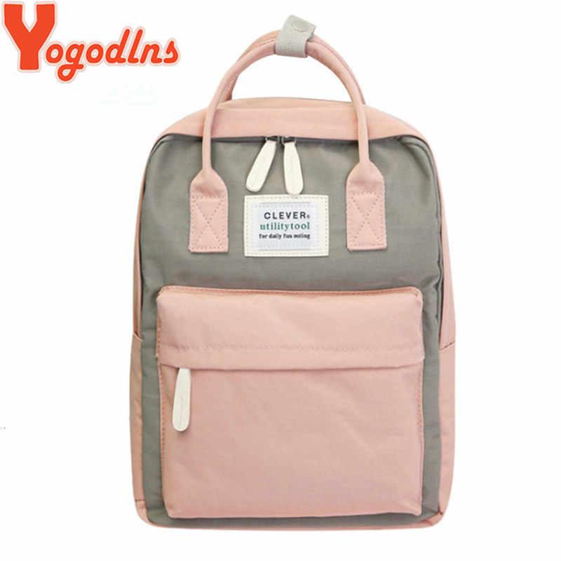 Yogodlns Campus kobiety plecak szkoła torba dla nastolatków College płótnie kobiet Bagpack 15 cal laptopa plecaki Bolsas Mochila