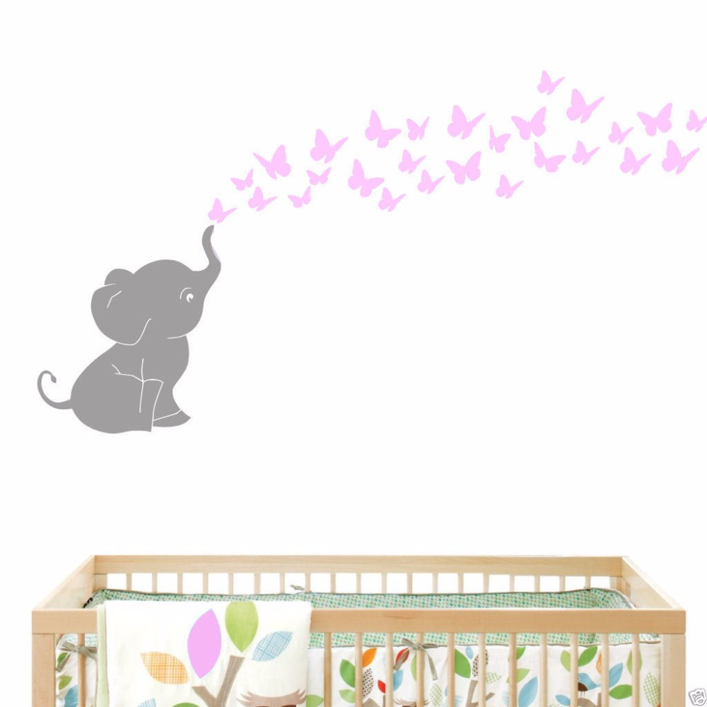 Elephant blowing butterflies baby wall decal vinyl wall nursery elephant blowing butterflies baby wall decal vinyl wall nursery room decor 121cmx153cm in wall stickers from home garden on aliexpress alibaba group amipublicfo Images