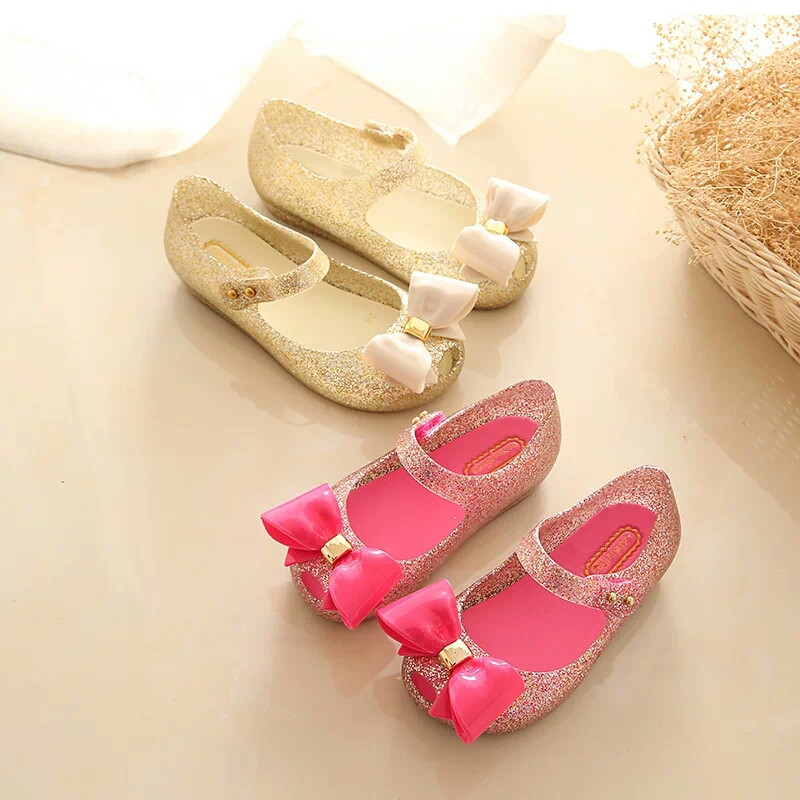 15-18cm Mini Melissa Mini Söt Bows Jelly Girls Sandaler Melissa Girls Sandals Sapato Infantil Menina Children Flickskor