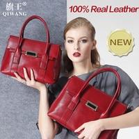 Qiwang большой Размеры Сумочка Ретро сумка натуральная кожа Элитный бренд сумка застежка клапан Мода металлическим замком Сумочка Кошелек Дл