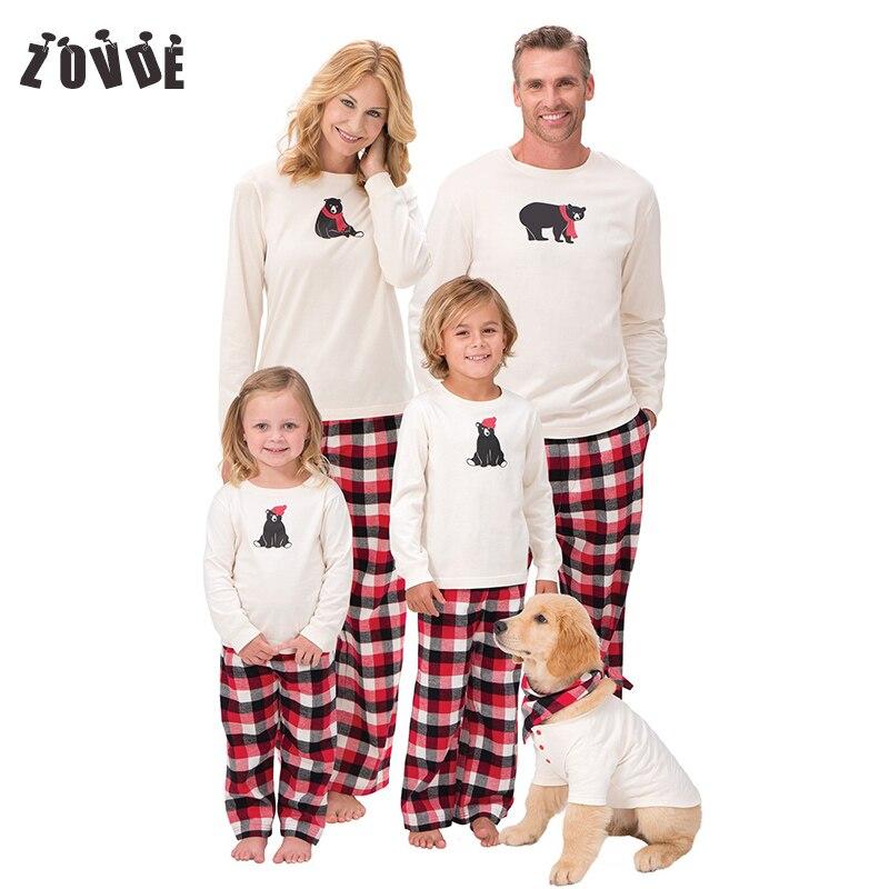 2018 פסי חג המולד חג המולד משפחה התאמת משפחה מראה משפחת שרוול תלבושות Cartoon דובים ארוכים 1 סטים