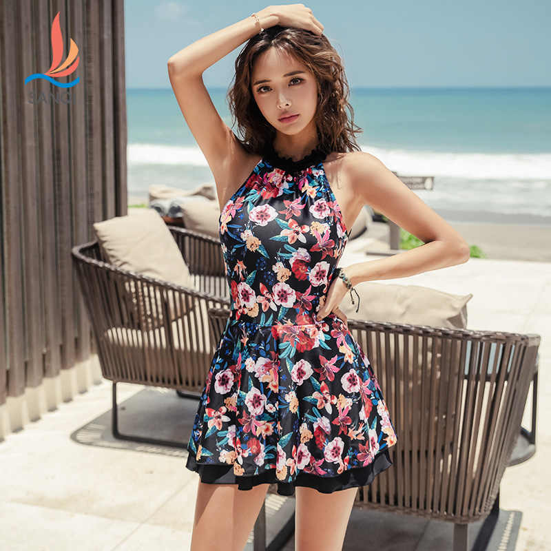 fb02c07861 SANQi female swimsuit one-piece skirt sexy small chest gathered slimming  belly hot spring conservative