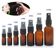5-100ML Mini Spray Bottle Beauty Empty Amber Glass Bottles Essential Oil Mist Spray Container Case Refillable travel bottle(China)