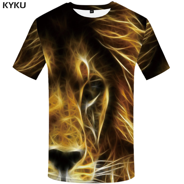 d9dc6eafa0e1 KYKU Brand Lion T shirt Fluorescence Tshirt Animal shirts T-shirt Plus Size  Clothing Men