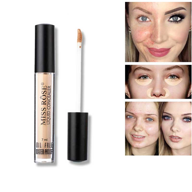 Miss Rose Full Coverage Liquid Concealer Cream Foundation Eye Dark Circles Cream Face Corrector Waterproof Make Up Base Cosmetic