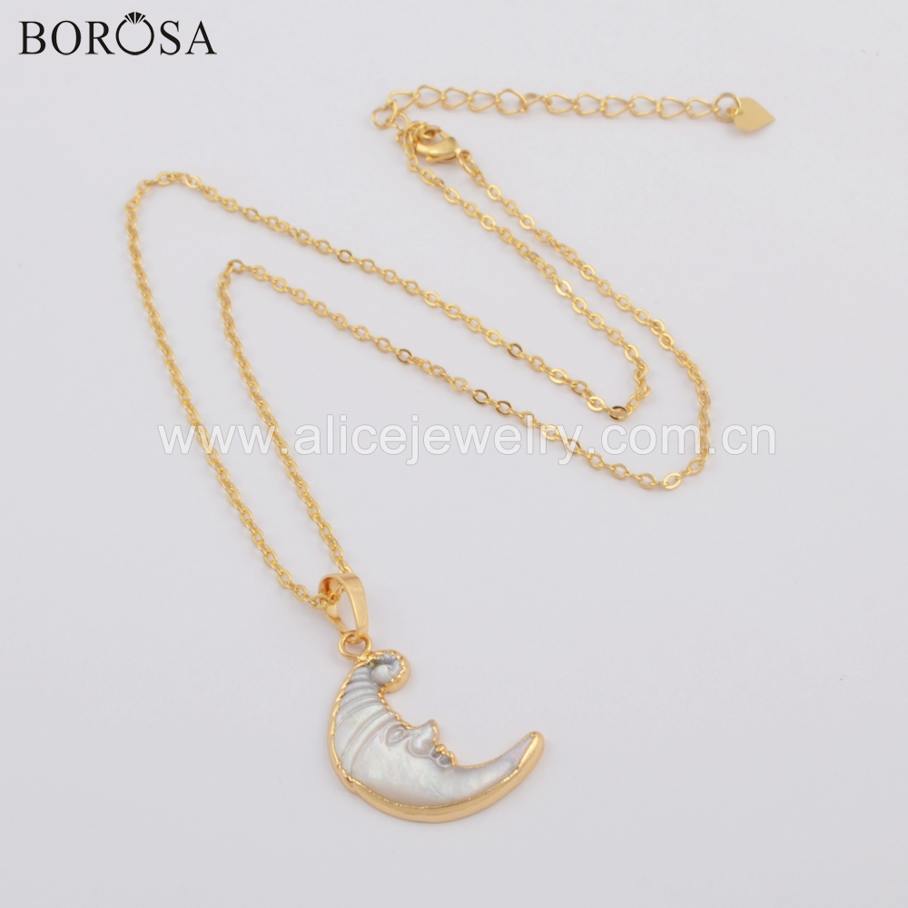 BOROSA Design 5 10PCS Gold Color Natural White Shell One Side Carved Face Crescent Pendant Beads Necklace Jewelry G1738 N in Pendant Necklaces from Jewelry Accessories