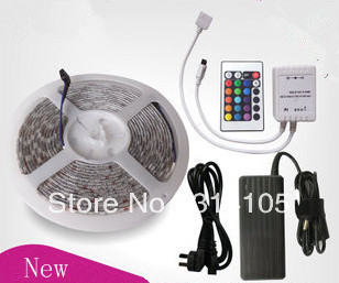 New style 5050 RGB Led Strip Flexible Light 60led/m 5M 300 leds waterproof SMD DC 12V+ IR Remote Control + 6A Power Supply