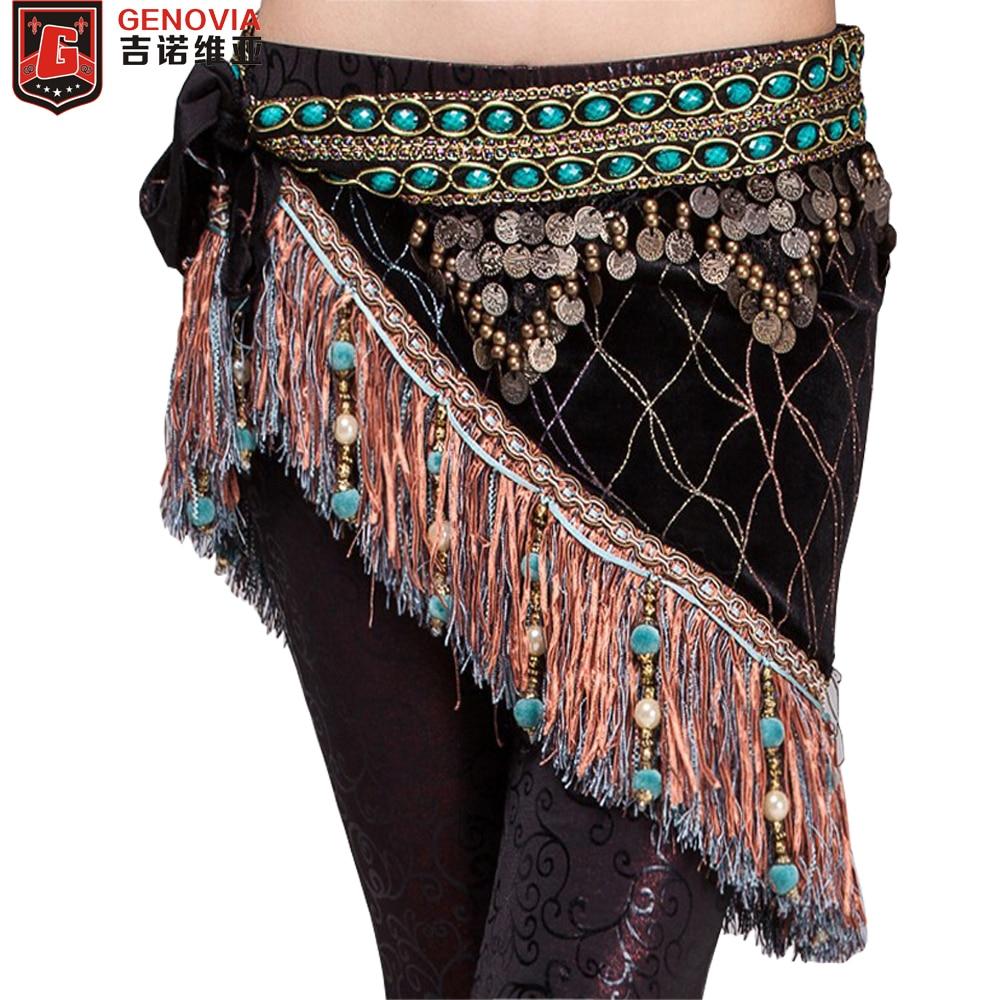 Women Belly Dancing Classical Fringe Tribal Hip Scarf Skirt Wrap Velvet Waist Chain Belly Dance Hip Scarf Tassel Belt Gift