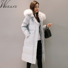 Wmwmnu Women winter Down Jacket 2017 New Autumn big pocket long Coats faux fur collar white duck down outerwear