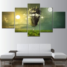 Mystical Twilight Island Equinox Girl Painting 5 Piece Style Picture On Canvas Print Type Home Decorative Wall Artwork Poster