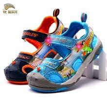 Dinoskulls динозавров обувь для мальчиков сандалии светодиодный свет обувь с закрытым носком мягкая подошва детская летние сандалии для детей пляжные сандалии модные