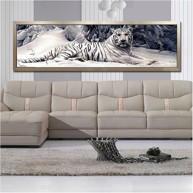 160X48CM Diy 5D ադամանդե նկարչություն Crouching Tiger, Round Diamond mozaic Painting Handmade Cross Stitch Kits Diamond ասեղնագործություն