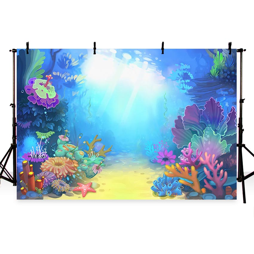 Little Mermaid Under Sea Bed Caslte Corals Ariel Princess Photography Backdrop Baby Party Birthday photo background G-498