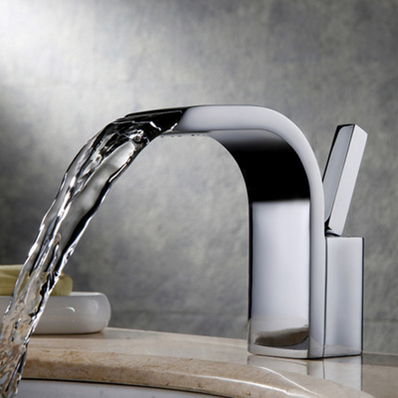 Basin Faucets Vertical Waterfall Faucet Single Hole White Tall Waterfall Faucet Tap Water Bathroom Sinks Faucets & Accessories