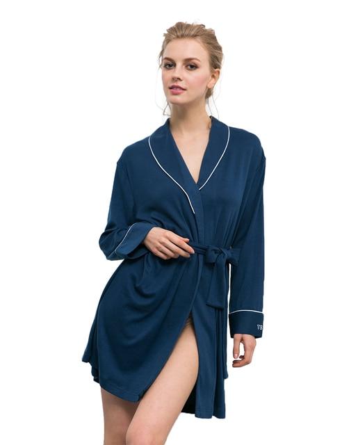 Ladies Cashmere Robes Long Sleeve V neck Bathrobe Night Robe ...