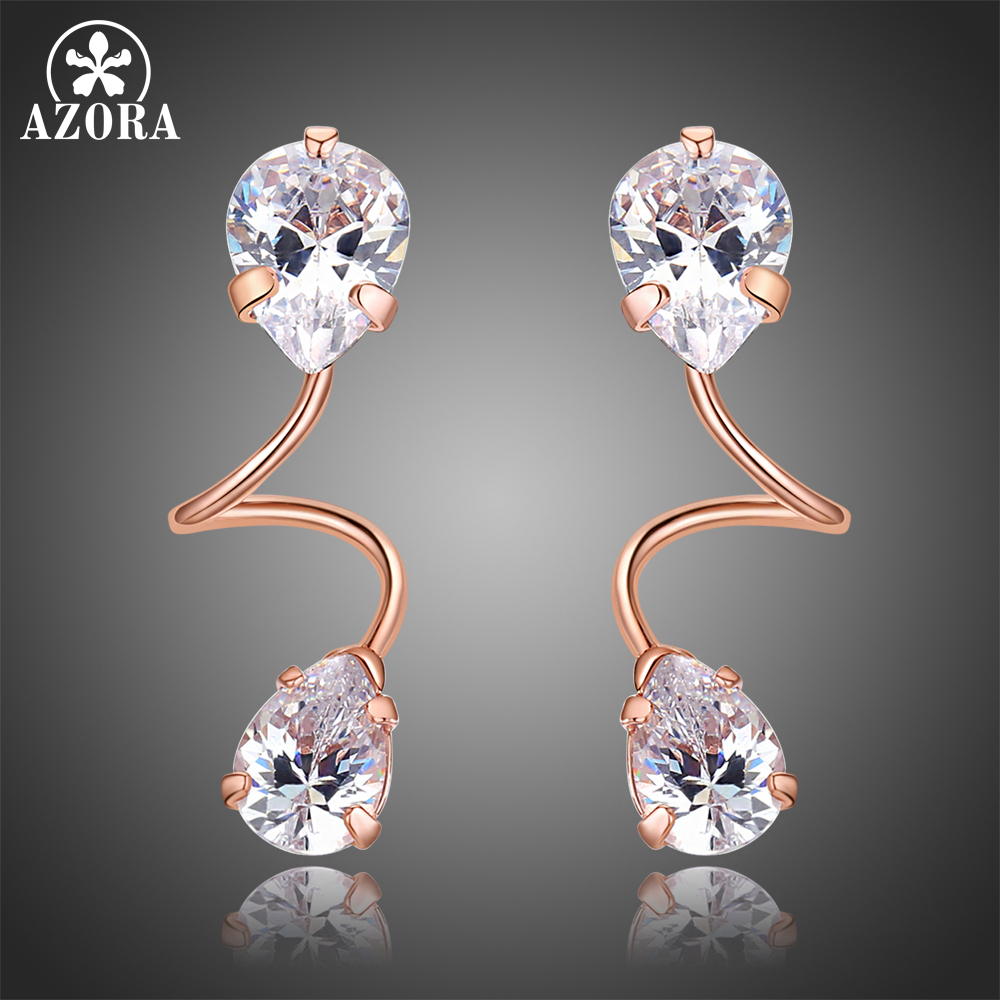 AZORA Elegant Bending Two Pear Cut Clear Cubic Zirconia Drop Earrings For Women Rose Gold Color Jewelry Brincos TE0322