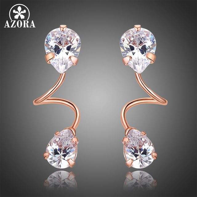 AZORA Elegant Bending Two Pear Cut Clear Cubic Zirconia Drop Earrings for  Women Rose Gold Color Jewelry Brincos TE0322 cfab7713f67a