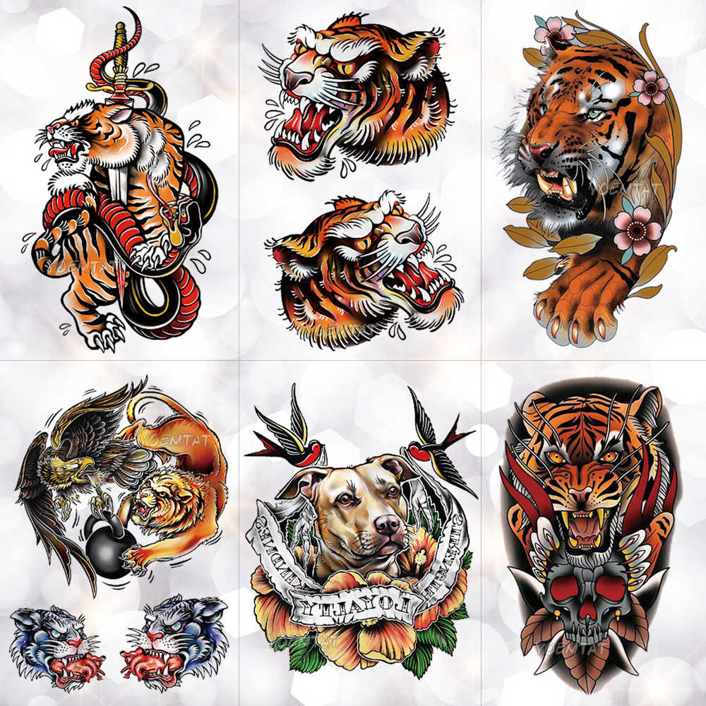 65bed1398 Circus Old School Tiger Snake Fox Waterproof Temporary Tattoo Sticker  Swallow Dog Flash Tattoos Body Art
