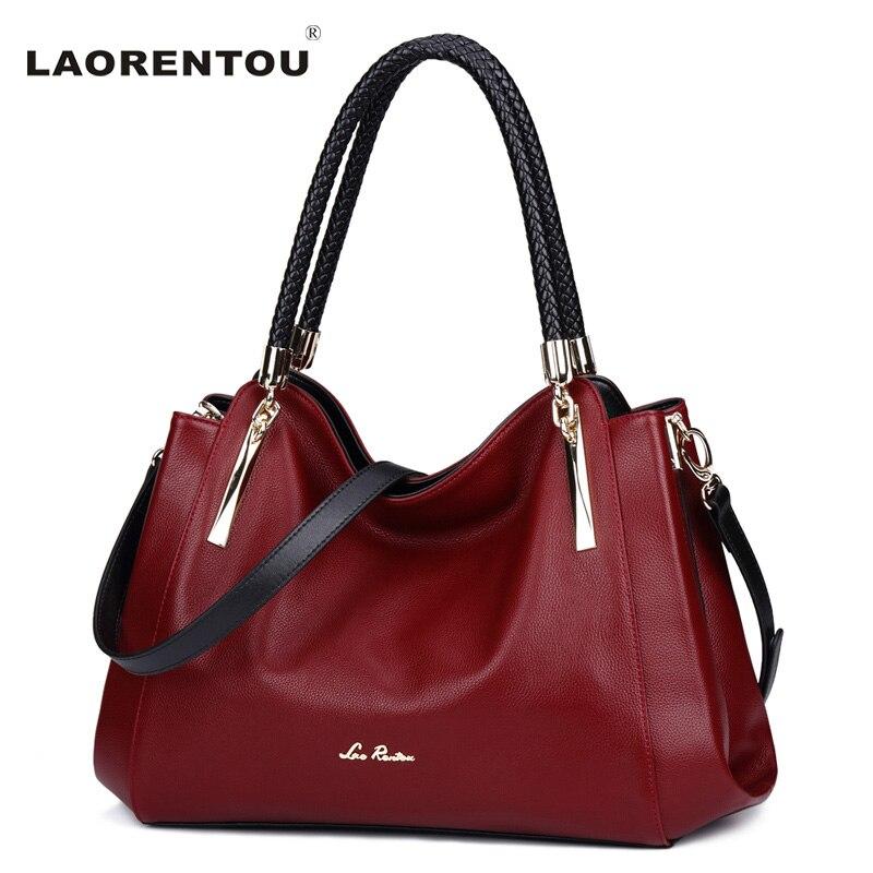 LAORENTOU Real Leather Luxury Handbags Designer Ladies Shoulder Bag Casual Tote Crossbody Bag Fashion Cow Leather Women Bags N50