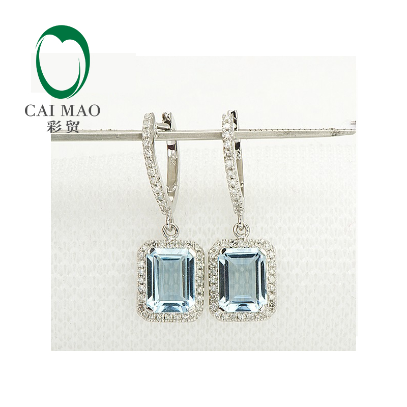 Unplated 14K White Gold Natural 3.19CT Aquamarine Diamond Engagement Earrings
