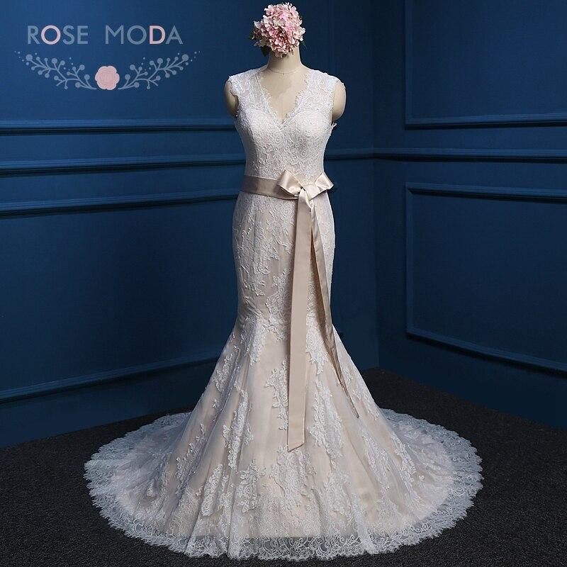 Rose moda lace mermaid wedding dress shayla ivory for Champagne ivory wedding dress