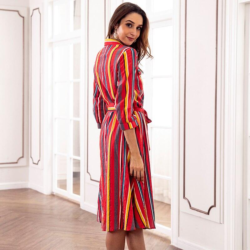 Feja nouvelle mode explosions 2018 Nova automne couleur rayé imprimé femme robe lâche décontracté bouton poche sangle robe femme