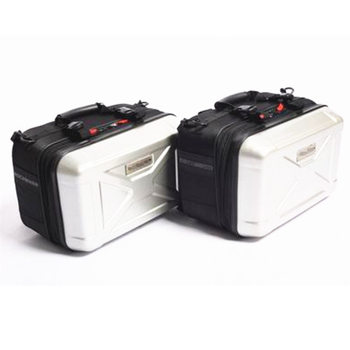 1 Pair 30L Motorcycle Bikes Side Case Luggage Tank Cargo Tail Box Silvery White