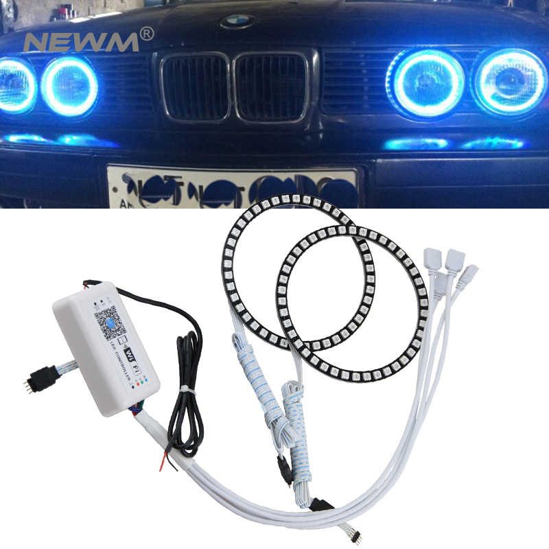 2x WIFI RGB Multi Color 60mm 70mm 80mm 90mm 100mm 120mm Angel Eyes 5050 RGB Halo Rings LED Bulb Flash Car Headlight Fog DRL