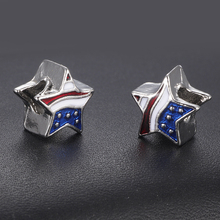 HOMOD Big Hole Besds USA Flag Star Pendant Charms Fit Brand Bracelet Patriotic 4th of July Independence Day Jewelry